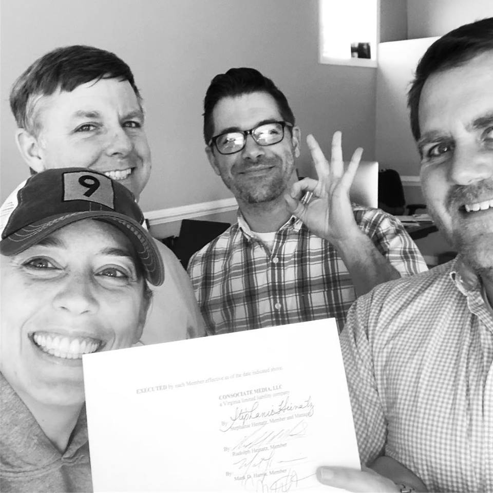 Stephanie Heinatz Rudy Heinatz Mark Harris Brian Harris Partnership Agreement Consociate Media Selfie